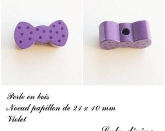Wood 21 x 10 mm bead, Pearl flat bow: purple