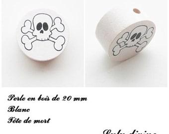 Wooden bead of 20 mm, flat, skull bead: white