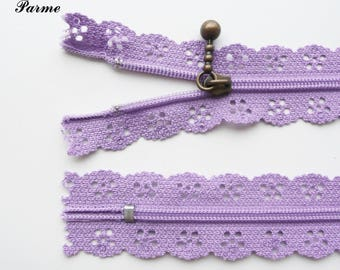 Lace zipper purple/mauve to 20 cm not separable sold individually