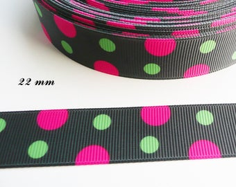 Black with large dots fuchsia & green 22 mm grosgrain Ribbon sold by 50 cm