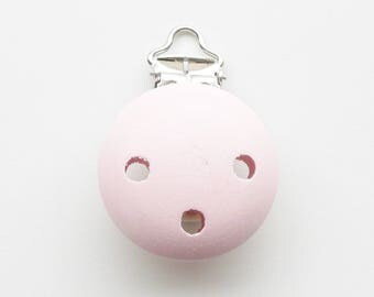 Clip / buckle, wooden pacifier Clip: pastel pink
