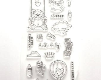 Stamps silicone - clear Stamp - themed baby / child / baby - Teddy / swing / balloon / rocking horse