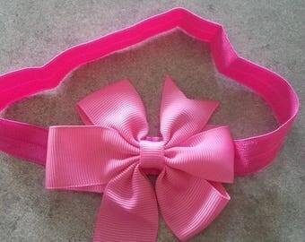 baby girl headband pink bow pattern