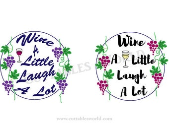 Wine a Little Framed  SVG PNG DXF pdf eps and jpg format Food and Drink Word Art Clipart