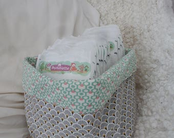 Green and gray fabric basket
