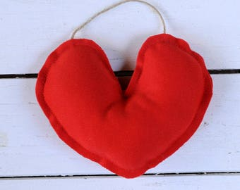 Stuffed Red Heart Decor | Upcycled, Repurposed, Love, Accent