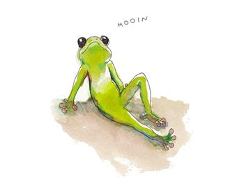 chilling frog - print