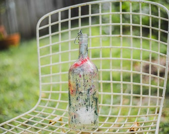 Single Clear Speckled Wine Bottle Lantern - Hanging Candle - Hanging Lantern - Gifts for Mom - Housewarming Gift