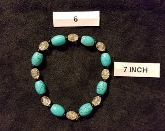Turquoise and Clear Stretch Bracelet