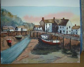 Harbour painting of Polperro Cornwall