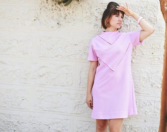 Super Cool 60s Mod Mauve Pink/Purple Mini Short Sleeve Shift Dress w/ Amazing Seaming & Funnel Collar/Medium-Large
