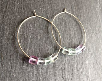 pale green fluorite purple pastel cubes hoops