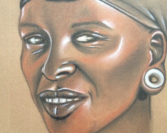 "African painting ""accomplice 2"" mixed media drawing"