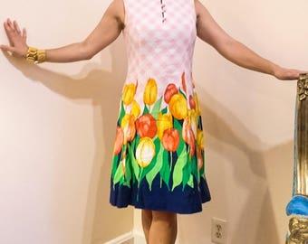 Summertime Fun! 1960s Tulip Dress M