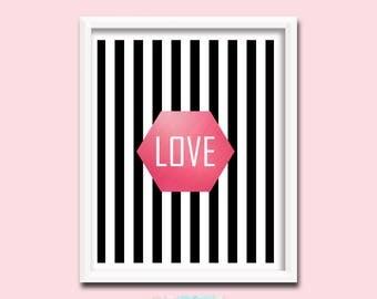 Printable Art, Love Wall Art Print, Love Print, Love Romantic Art, Love Home Decor, Love Art, Bedroom Decor, Rose Gold Decor | M0040
