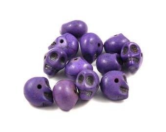 X 3 skull beads ❤ ❤ purple stone skull