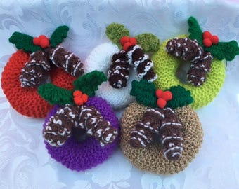 Hand Knitted Christmas Wreath Tree Decorations