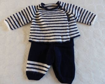 set baby girl or boy pants jacket Navy Blue and white 3 months