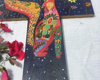 Handmade Painted Decorative Coyote Cross