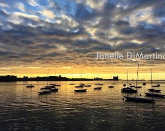 Sunrise in the city - Harborwalk   Boston, MA - FREE SHIPPING!