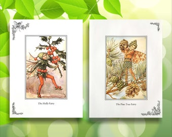 Pine Tree & Holly Flower Fairy Print from vintage book. Woodland Fairies Nursery themed gift for girl. C.M. Barker Illustration for framing