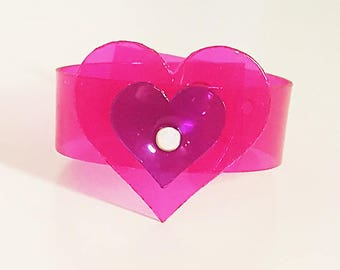 LOVE Cuffs - PVC cuffs with heart shaped embellishment available in various colours embellished with crystals - adjustable - ONESIZE