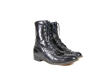 Men's 9 Black Leather Roper Boots // Black Lace Up Western Boots