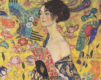 SET of TABLE semi-rigid ORIGINAL AESTHETIC WASHABLE and durable - Gustav Klimt - Lady with a range of up - Version