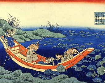 ORIGINAL SEMI RIGID PLACEMAT. Hokusai. Boat in the middle of the lotus.