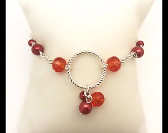 """Ruby"" bracelet and beads"