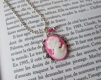 Resin - color ROSE cameo necklace