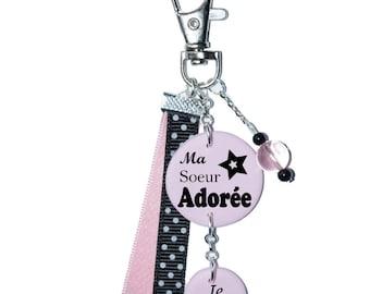 """Bag charm """"My sister"""" pink"""