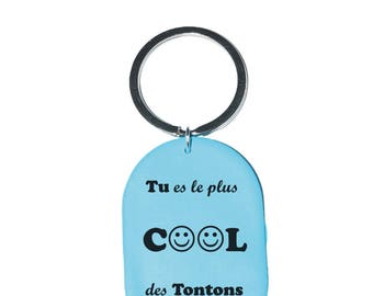 "Keychain ""You're the coolest tontons"" turquoise"