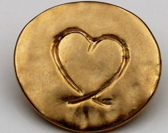 cool, golden metal-buttons with a little heart 21mm (6 pieces)