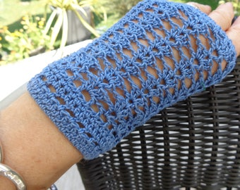 HAND crocheted blue Mercerized cotton