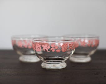 Vintage Anchor Hocking Gooseberry Dessert Dishes - set of 3
