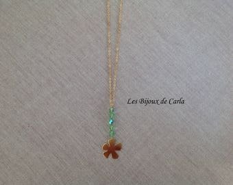 Gold plated necklace with flower pendant