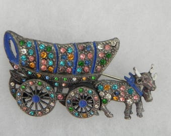 Covered Wagon Brooch, Conestoga Wagon, Art Deco, Oxen, Rhinestones, Little Nemo, Pot Metal, Articulating Wheel, Mechanical Covered Wagon Pin