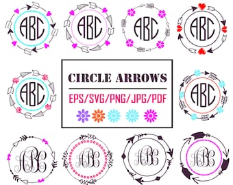 Arrows Circle Svg - Arrows Monogram Svg - Arrows  clipart for Design/Print/ Silhouette Cameo/Cricut and More (Inclued eps/svg/png/jpg/pdf)