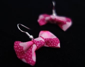 Earrings pink Japanese fabric bow with white flowers