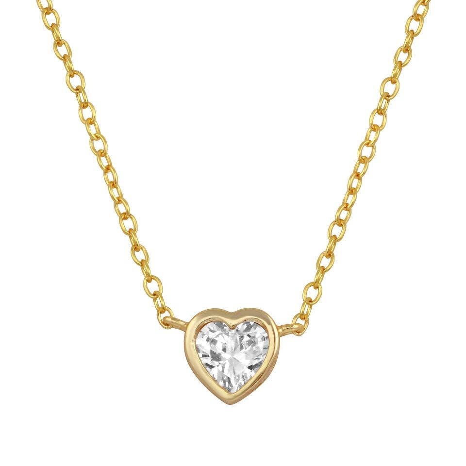 Delicate heart cz necklace choker with tiny diamond pendant 18k delicate heart cz necklace choker with tiny diamond pendant 18k gold plated 18k mozeypictures Image collections