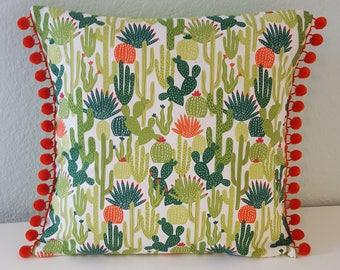 Succulent and cacti garden pillow cover, pom-pom trim. Mexican desert cactus flowers. Premium quality. Cushion cover.