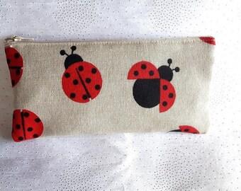 Pencil case fabric Ladybug