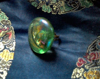 iridescent blue glass cabochon ring
