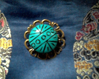vintage turquoise ceramic brooch retro