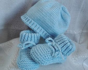 Set of booties and bonnet 0/3 months baby