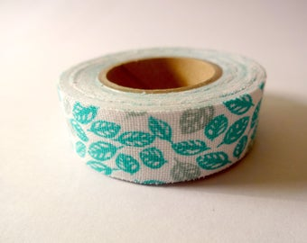 Masking tape adhesive fabric - pattern green leaves and grey - scrapbboking - home decor