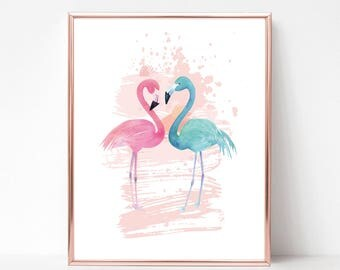 Flamingo Couple | Flamingo Print | Flamingo Decor | Digital Download  | Customize