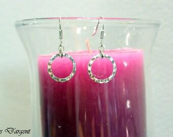 hammered rings in 925 Sterling Silver earrings