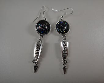 Earrings dangle with 14mm handmade glass cabochon so unique